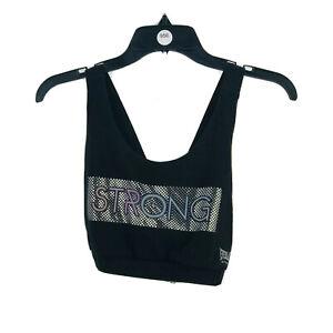 Everlast-Sport-Women-039-s-Black-034-Strong-034-Cross-Back-Sports-Bra-Size-Medium