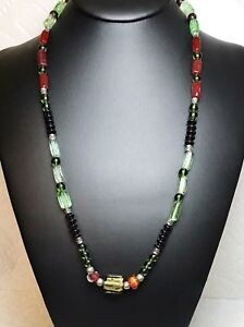Vintage-Glass-Bead-Necklace-Burgundy-Black-Green-Accented-W-Silver-Beads