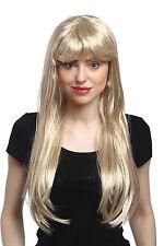 Perücke Damen Karneval Fasching lang glatt Pony Blond Hellblond Goldmarie 60 cm