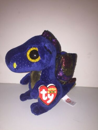 """MINT TAG *IN HAND NOW* LOVES ADVENTURES TY SAFFIRE DRAGON 6/"""" BEANIE BOOS-NEW"""