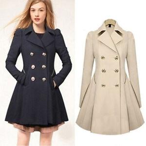 A Imagem Está Carregando Winter Womens Double Ted Trench Dress Coat Lapel