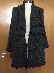 Pretty-Angel-Womens-Sweater-L-Wool-Linen-Open-Black-Gray-Cardigan-Lagenlook