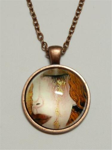 PAINTING OF WOMAN CRYING by GUSTAV KLIMT CG3261...COPPER PENDANT