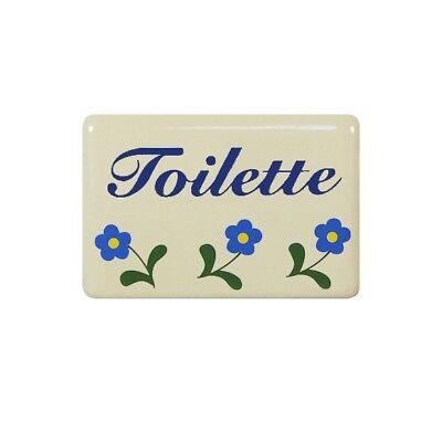 Email Emaille WC Toiletten Schild Türschild Creme Blümchen Metallschild
