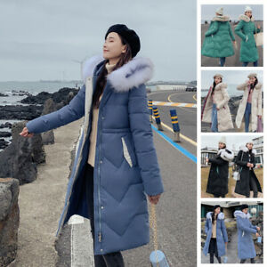 Womens-Ladies-Winter-Jacket-Long-Parka-Hooded-Large-Fur-Collar-Coat-Warm-Quilted