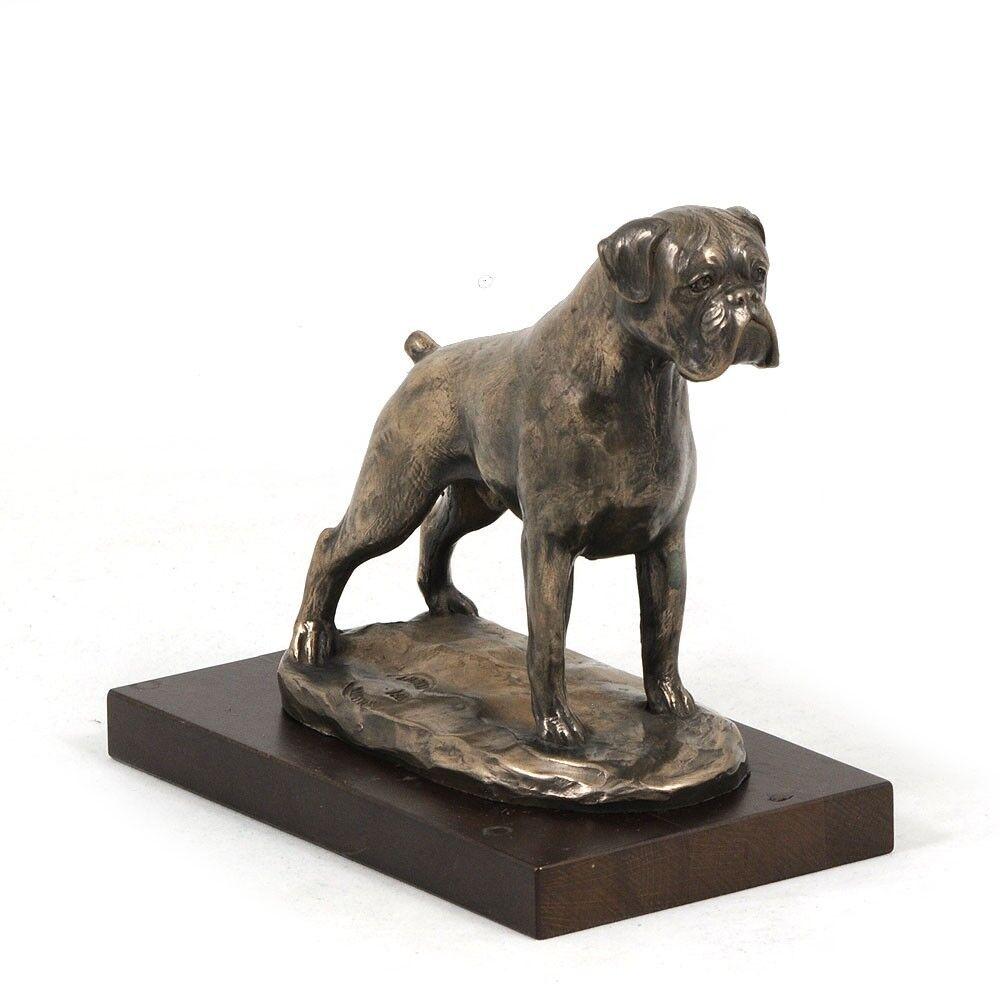 Boxer tedesco tipo 3 - busto statua di cane su base di legno, Art Dog IT