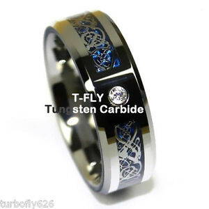 8Mm-CZ-Silver-Celtic-Dragon-Tungsten-Carbide-Ring-Men-Jewelry-Wedding-Band-USA