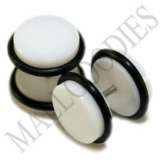 "2006 White Fake Cheater Illusion Faux Ear Plugs 16G Bar 1/2"" = 12mm BIGGEST 2pcs"