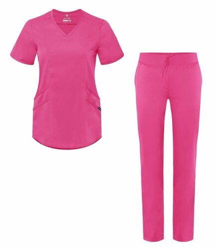 Adar Pro Scrub Set for Women Tailored V-Neck Scrub Top /& Tailored Yoga...
