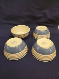 4-Pfaltzgraff-BAJA-Cream-Mauve-Band-Blue-Swirl-Stoneware-Soup-Cereal-Bowl-MINT