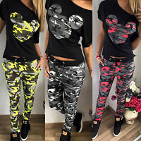Womens Camouflage Tracksuit Tops Lounge Suits Joggers Jogging Pants Sports Wear
