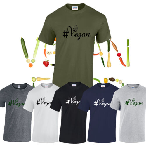 NEW MENS WOMENS VEGAN VEGETARIAN SLOGAN TOP T-SHIRT MEAT FREE POWERED BY PLANTS.