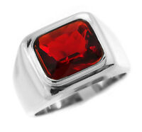 Ruby Red Stone Solitaire Silver Stainless Steel Mens Ring
