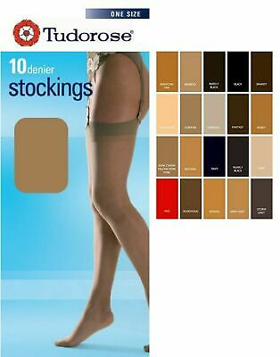 """12 PAIRS OF LADIES 15 DENIER SMOOTH KNIT TIGHTS ONE SIZE UP TO 42/"""" HIP"""