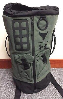 88283ae973e Under Armour UA x Project Rock 60 Green Military Duffle Bag Backpack NWT  RARE
