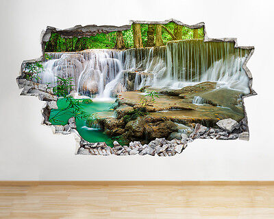 K251 Waterfall Lake Trees Nature Flowers Wall Decal Poster 3D Art Stickers Vinyl