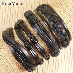 PotaMalat-4pcs-Leather-Bracelet-Wrap-Bangles-Braided-Rope-Wristband-Unisex-D57