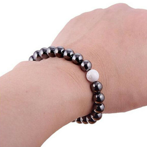 8 Mm Magnétique Hématite rond Noir Perles Nacres Gem Stretch Thérapie Bracelet