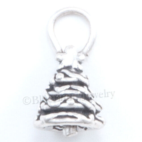 small 3D CHRISTMAS TREE Star Charm Pendant 925 Sterling Silver Jewelry Tiny