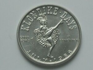 Edmonton-AB-CANADA-1968-Trade-DOLLAR-Token-with-Klondike-Days-Can-Can-Dancer