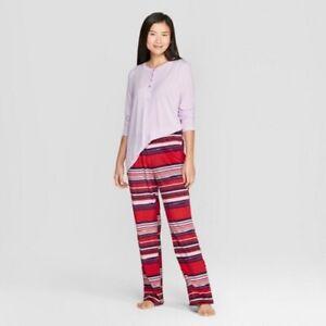 34c98eda4e36 Details about NEW Women s Striped Cozy Fleece Pajama Set - Gilligan    O Malley™ Violet XL