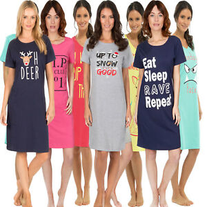 822faf97a7 Image is loading Ladies-Short-Sleeve-Night-Shirt-Nightdress-womens-Nightie-