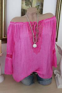 NEUF-chemisier-blouse-italienne-hippie-crochet-rose-Batique-grande-chemise-BOHO