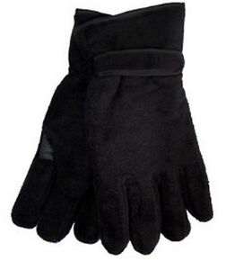 Mens-Polar-Fleece-Gloves-Thinsulate-Thermal-Lining-3M-Winter-Black-Size-L-XL