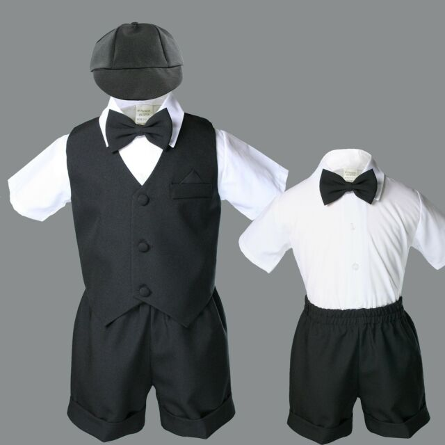 Baby Boy Toddler Wedding Formal Bow Tie Black Shorts Vest Set Eton Suit Sz S-4T