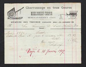 """MORNAY-BERRY (18) CHARRONNAGE / CHARRON """"MOULINNEUF & TURPIN"""" en 1917 - France - État : Occasion : Objet ayant été utilisé. Consulter la description du vendeur pour avoir plus de détails sur les éventuelles imperfections. Commentaires du vendeur : """"CORRECT"""" - France"""