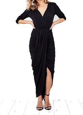 Black Wrap Drape Midi Maxi Dress John Zack Starke Verpackung