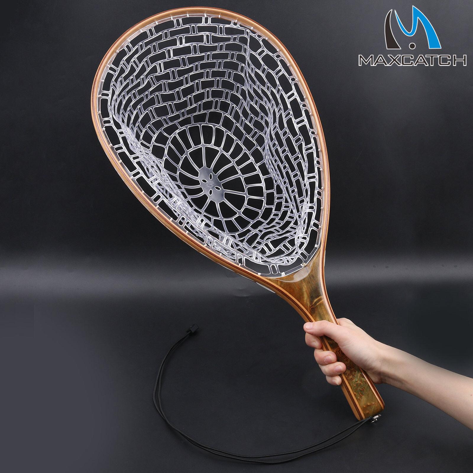Fly Fishing Landing Net Clear Rubber Catch & Release Burl Wood Straight Handle