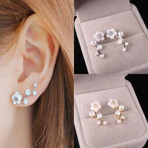 1 Pair Elegant Women Lady Girls Shell Flower Ear Stud Earrings Fashion Jewelry