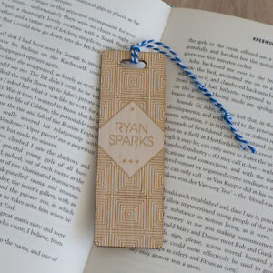 Personalised-wooden-bookmark-Laser-engraved-vintage-geometric-pattern-L181