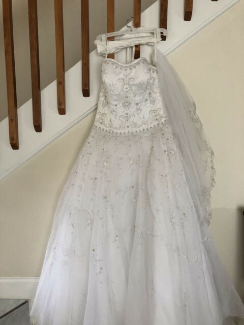 ad6cc7026cc Oleg Cassini White Satin Bodice Organza Wedding Dress Size 12 Preserved  CT258