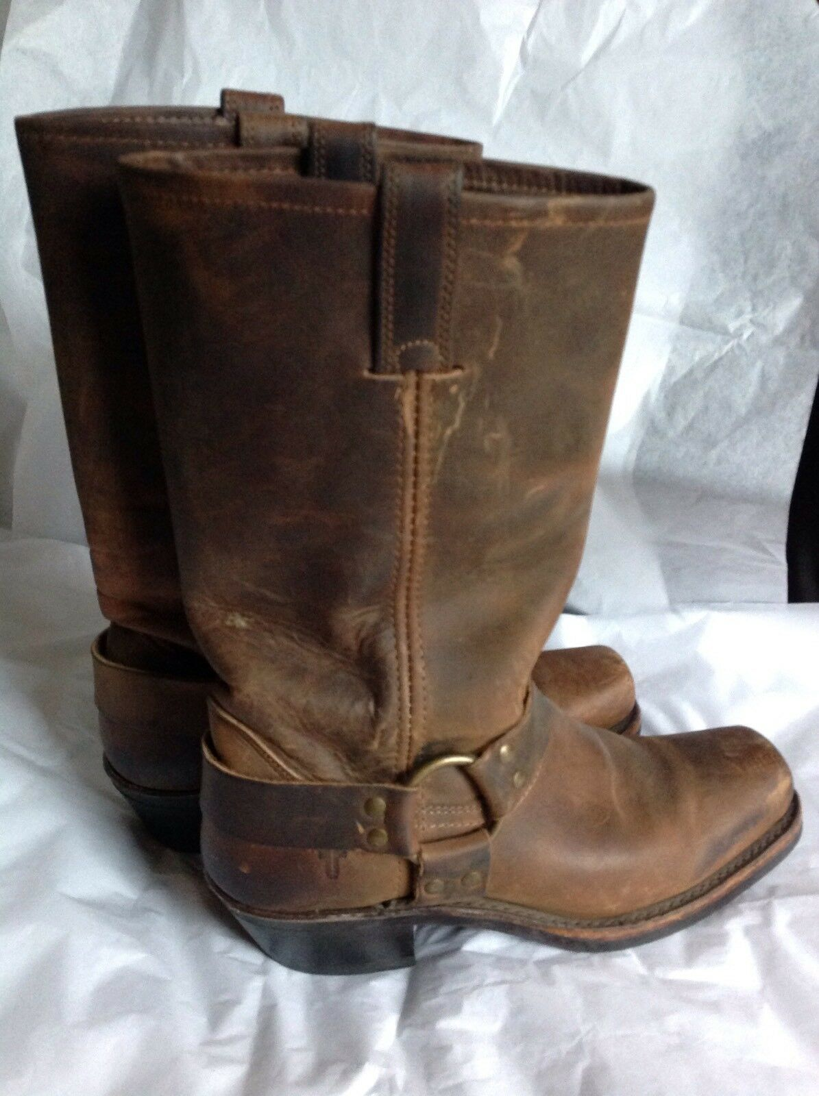 FRYE 77300 Brown Leather Leather Leather Harness Motorcycle Boots Women's Size 9 55cb92
