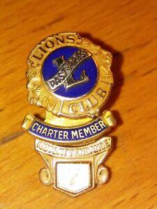 Vintage-Lions-Club-Past-President-Charter-Member-100-Attendance-Lapel-Pin-10kt