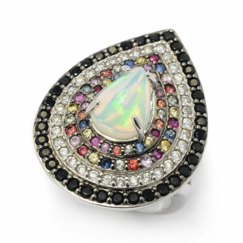 Meher/'s Jewelr Sterling Silver 12 x 8mm Ethiopian Opal /& Gemstone Ring SOLD OUT!