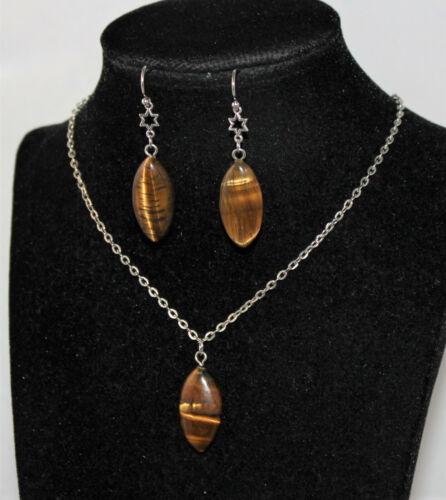 Schmuckset Kette Ohrringe roter Aventurin oder Tigerauge Naturstein Silber NEU