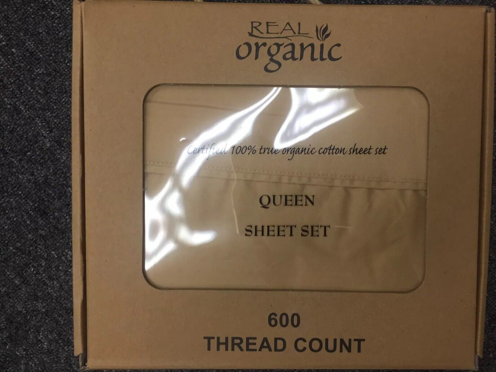 4pcs 100% Organic Cotton Bed Sheet Set 600 TC, Regular gold