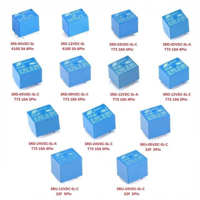 DC 3V / 5V / 9V / 12V / 24V Mini Power Relays 4-Pins 5-Pins 6-Pins 8-Pins