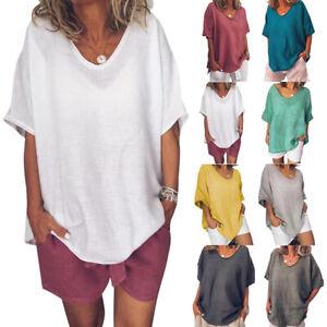 Ete-Femme-Coton-Manche-Court-V-Col-Loose-Casual-Tops-Hauts-Chemises-T-shirt