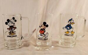 Glass Pedestal Mugs Walt Disney Mickey Mouse Minnie Donald Vintage Lot of 3