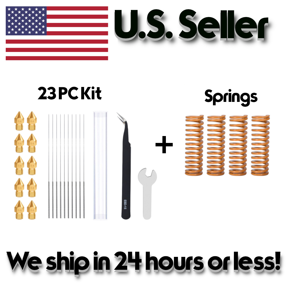 Nozzle Cleaning Bundle and Upgraded Bed Leveling Springs for Ender 3/CR-10 3D Pr