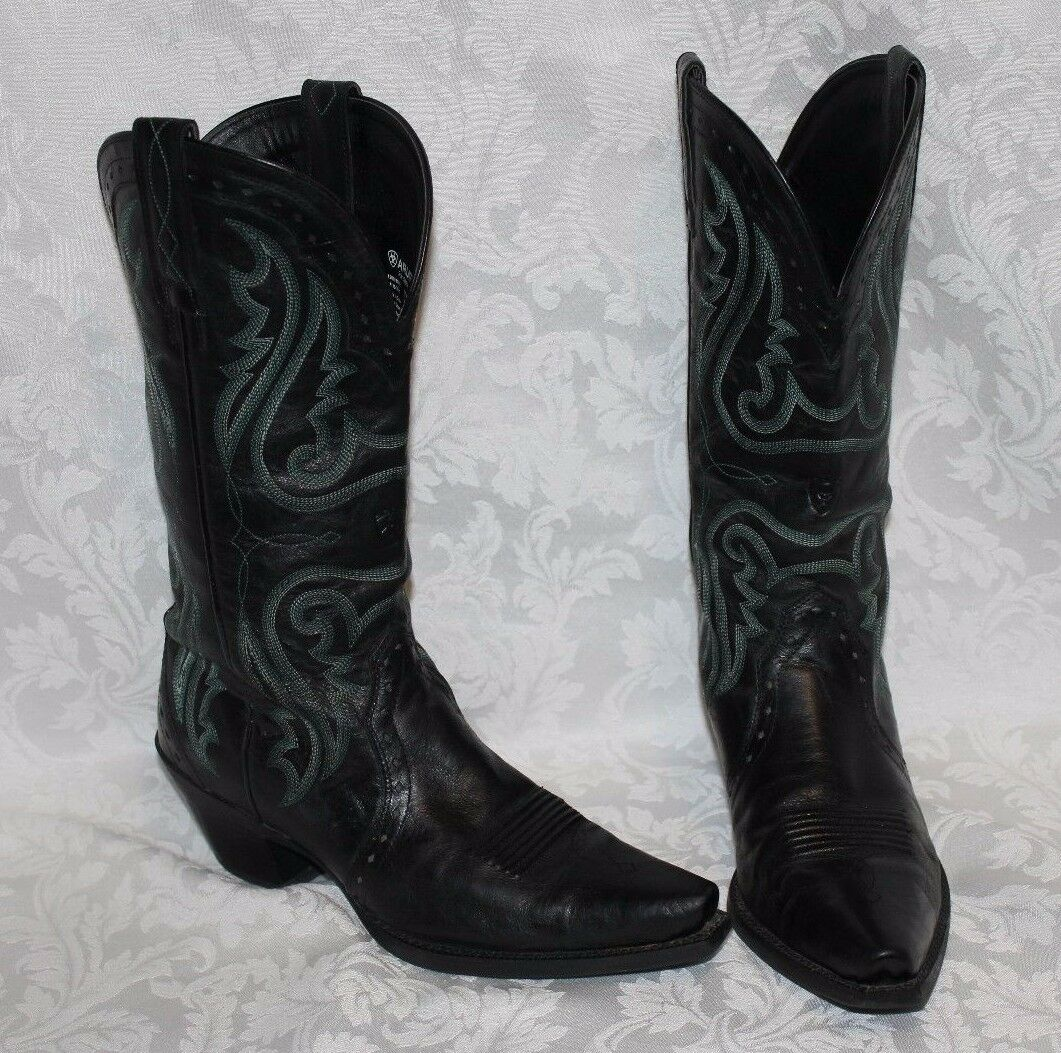 ARIAT COWBOY BOOTS size 8B X TOE Black and Green Style