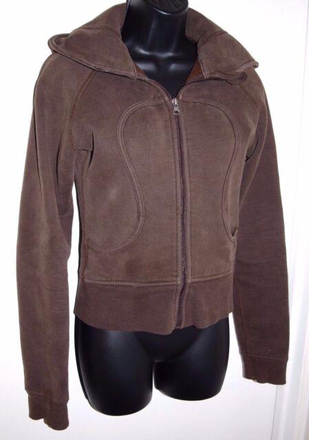 Lululemon Womens Size 6 Long Sleeve Brown Scuba Hoodie Full Zip
