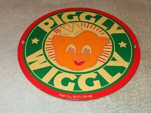 VINTAGE-1948-034-PIGGLY-WIGGLY-GROCERY-STORE-034-9-034-PORCELAIN-METAL-PIG-GAS-amp-OIL-SIGN