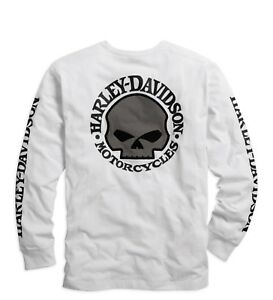 Harley-Davidson-Men-039-s-Skull-Long-Sleeve-Tee-White-Gr-M-Herren-Shirt-Weiss