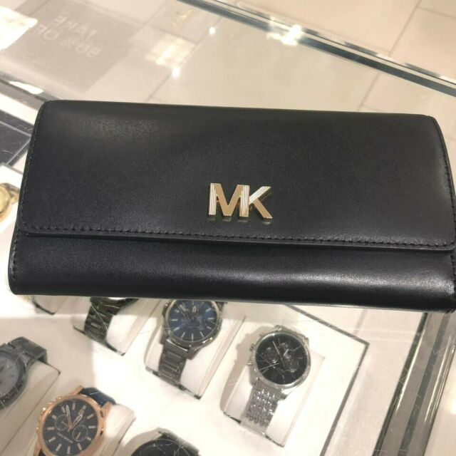 Michael Kors Womens Medium Large Leather Credit Card Coin Holder id Wallet Black