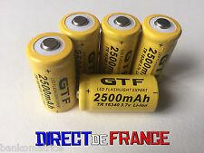 5 PILES ACCUS RECHARGEABLE CR123A 16340 3.7V 2500Mah GTF Li-ion BATTERIE